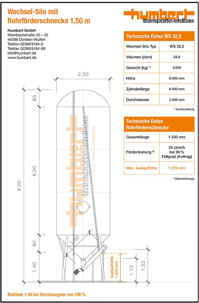 Datenblatt Humbert Wechsel-Silo 32 cbm mit Rohrförderschnecke 1,5 m